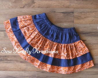 Girl's Skirt - Denim and Orange Bandana Print