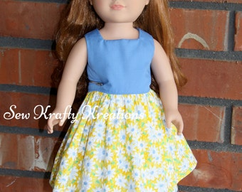 "Blue & Yellow Daisies Doll Dress for 18"" doll like American Girl"