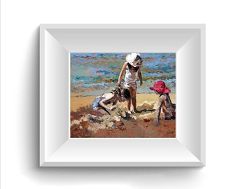 Limited edition print, original artwork, impressionist painting, beach art, childhood memories, palette knife art, wall art, 'Sandcastles'.