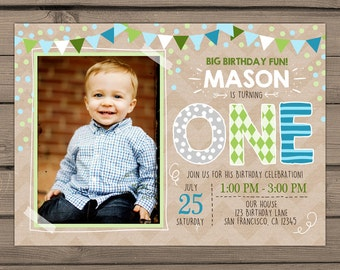 First Birthday Invitation boy birthday invitation
