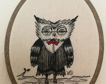 Original hand embroidered owl illustration hoop
