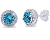 Halo Stud Post Earring Solid 925 Sterling Silver 0.66CT Round Cut Swiss Blue Topaz Zircon Round White CZ Wedding Engagement Brides maid Gift