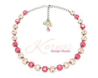 PINK ROSE PETALS 10mm Crystal Cushion Cut Necklace Made With Swarovski Elements *Antique Silver *Karnas Design Studio *Free Shipping