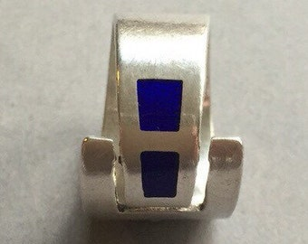 Silver Blue Enamel Ring
