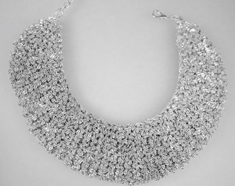 Crochet Metal Chain, Pewter Silver Color
