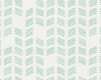 Mint Tribal Herringbone Organic Fabric - By The Yard - Gender Neutral / Tribal / Fabric
