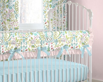 Girl Baby Bedding: Love Birds Crib Rail Cover with Ruffle by Carousel Designs