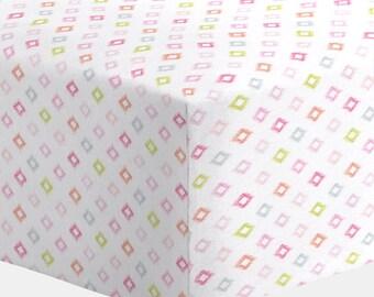Girl Baby Bedding : Pink Ikat Diamonds Crib Sheet by Carousel Designs