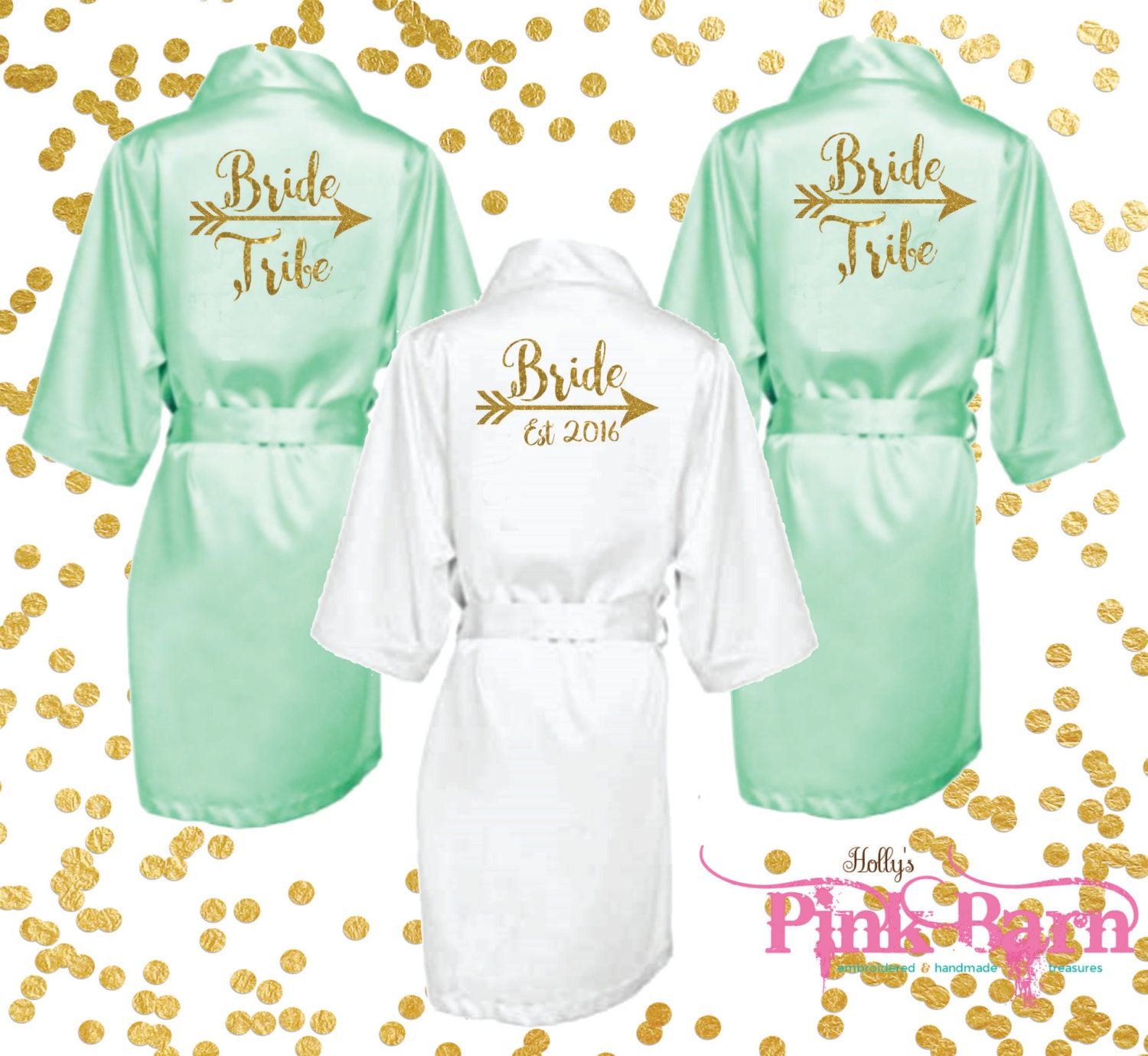 custom mint and gold bride tribe bridesmaids robes bridal
