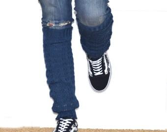 Leg warmers in blue  / Boot cuff / grey boot socks / Urban clothing / Knit leg warmers / lace boot cuff