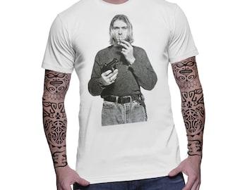 Kurt Cobain Vintage Retro Graphic Nirvana '90 US Indie Punk Grunge Rock Music Band Men Tee Top T-Shirt
