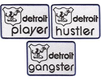 Detroit Hustler, Gangster, Player, Urban Hip Hop Style Rap Patch Badge for Cap Hat Shirt