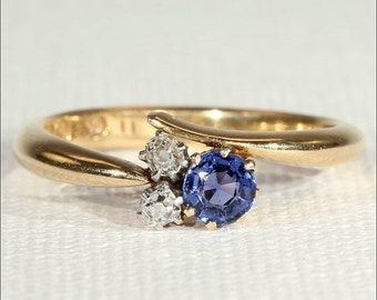 SALE Antique Edwardian Sapphire and Diamond Ring in 18k Gold, c. 1910