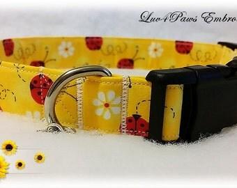 Ladybugs and Daisies Adjustable Dog Collar