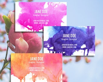 Customizable, Predesigned Single Sided Watercolor Business Card, Mommy Card or Calling Card