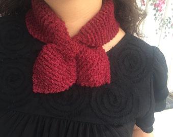 Neck warmer Knitted Neck Scarf, Purple Scarf, Red Scarf, Handmade, Knitted Scarf, Neck warmer, Warm Scarf, Womens Scarf, Girls Scarf