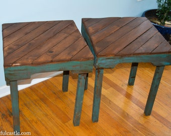Pair of Turquoise Reclaimed Wood Side Tables
