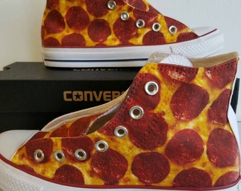 Pepperoni Pizza Custom Converse All Stars