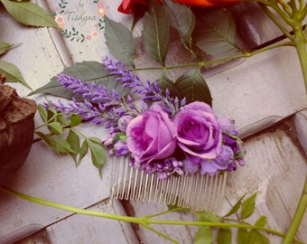 lavender headpiece Wedding Flower Hair Comb Bridal Hair Piece Comb lavender  Hair Flower Bridesmaid Blush wedding comb shabby shic comb