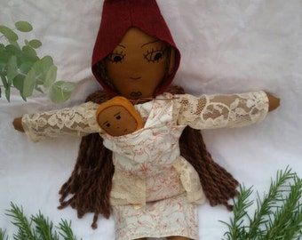 Rosemary and her baby, art doll, mom and baby