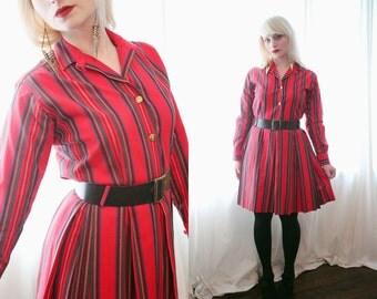 Vintage 1960s long sleeve red stripe schoolgirl retro mod hippie biba belted shirtdress  dress twiggy