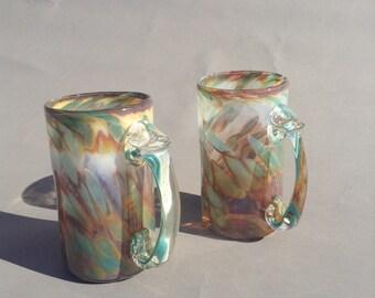 Set of two Beer Mugs - handblown - in Sunset pattern