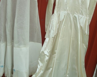 Antique 1940's era White Satin Wedding Gown & Slip