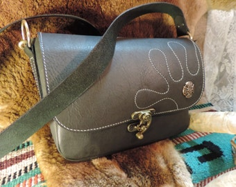Black Matrix Leather Purse handmade Cross body or shoulder with celtic cross