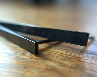 Minimalist Black Oxidized Sterling Silver Long Wide Rectangular Bar Earrings