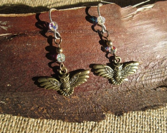 Antique Gold Owl-In-Flight Charms and Swarovski Crystals on Sterling Silver Earwires