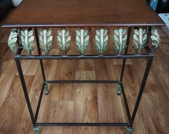 Pretty Vintage Wood and Metal Table Gorgeous Brass Detail