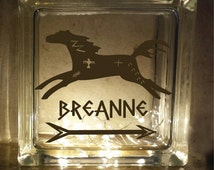 Primitive Horse Personalized Glass Block Decal / Vinyl Decal