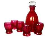 Ruby Flash Decanter Set, Red Glass Decanter, Vintage Whiskey Glasses