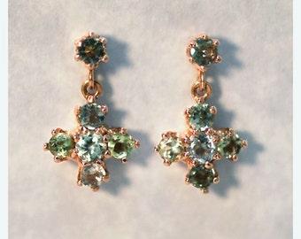 Blue and Green Tourmaline Dangle Earrings | Solid 14K Gold | Gemstone Earring | Cross | October Birthstone | Fine Jewelry | Free Shipping