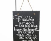 ON SALE - Friendship isn't about whom you have known the longest, it's about who came and never left your side- Going Away Gift, Gift for Fr