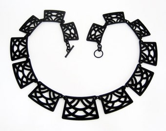 Art Deco Necklace, Statement Necklaces for women, Wearable Art Jewelry, Fashion necklace, 3d printed unique necklace, gift for her