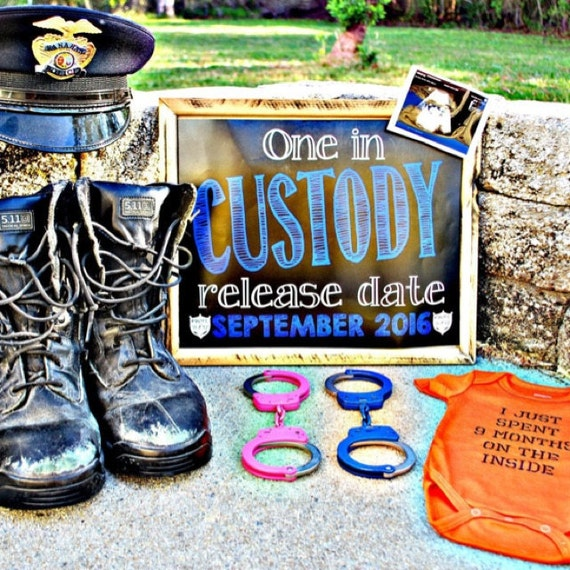 chalkboard pregnancy announcement police sheriff or trooper