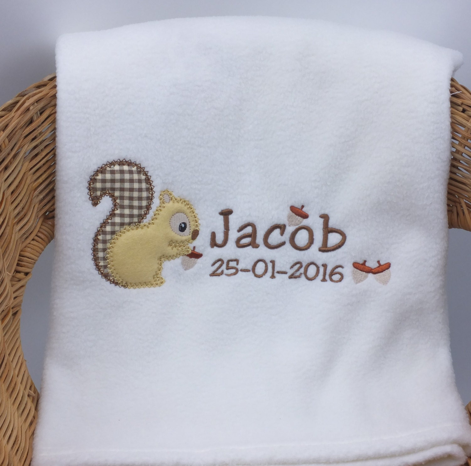 Personalised Embroidered Baby Dressing Gown Robe. Super soft fleece in Pink  White and Blue.