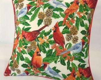 Pillow Cover Christmas, Cardinal Pillow, Bird Pillow, Holly Pillow, 16x16 Pillow, Red Pillow