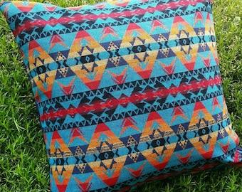 20x20 Teal Navajo Wool Pillow