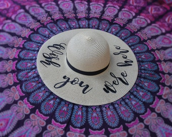 Wish You Were Here Beach Hat, Floppy Hat, Straw Hat, Ladies Sun Hat, Honeymoon, Girls Weekend Away, Bachelorette Party