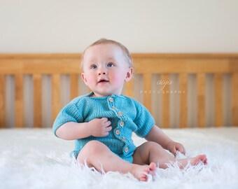 Aqua blue baby romper  romper, 6-12 months