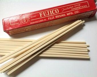 Vintage Fujico imitation Ivory Chopsticks utensil eating tool supply lot