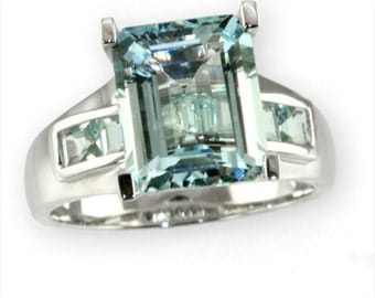3.25 cttw  14k White Gold Blue Diamond Emerald Cut Aquamarine Engagement Ring