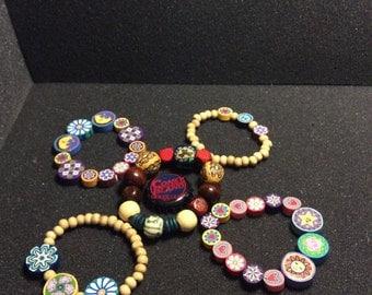 5 Polymer Clay & Wood Bead Bracelets