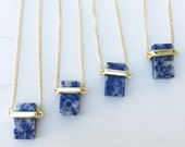 Blue Natural Stone Lapis Necklace, gold plated