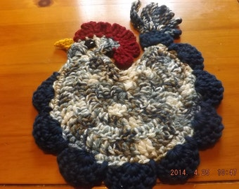 Set of Two - Crochet Reversible Rooster Pot Holders