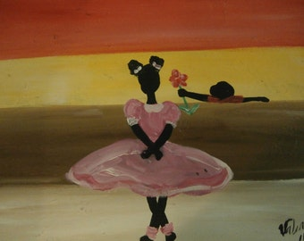 Original African American black art painting signed