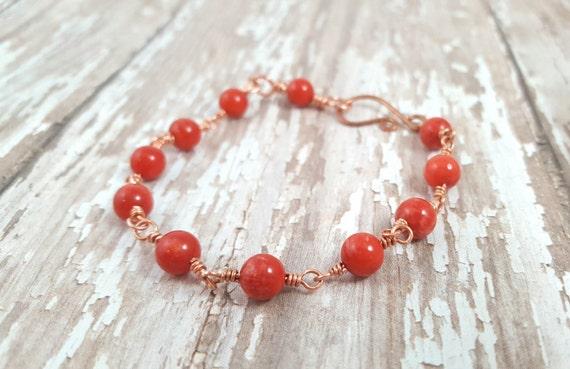 Red Bamboo Coral Bracelet - Copper Wire Wrapped Bracelet - Beach Jewelry - Stacking Bracelet - Boho - Copper Bracelet - Hippie - Bohemian
