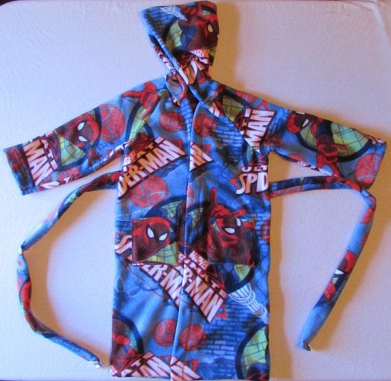 Boys robe/ boys fleece robe/hooded robe/long robe/character fleece robe/spiderman robe/ninja turtle robe/sponge bob robe/angry Bird robe